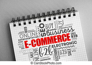 felhő, e-commerce, háttér, szó