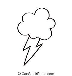 felhő, elektromos, fénysugár, egyenes, megrohamoz, mód