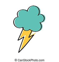 felhő, elektromos, fénysugár, kéz, rajzol, megrohamoz, mód