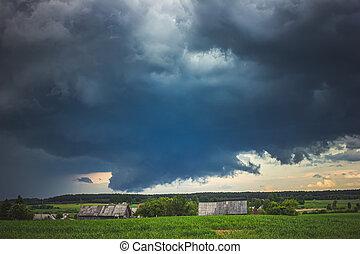 felhő, erős, eső, supercell, viharzik felhő, fal, szigorú