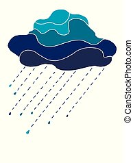 felhő, esőcseppek, kék, elszigetelt, hangsúly, gyönyörű, fehér