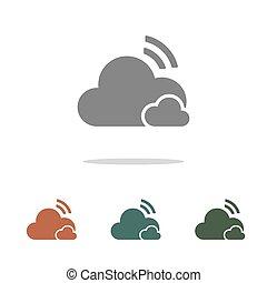 felhő, fehér, ikon, elszigetelt, háttér