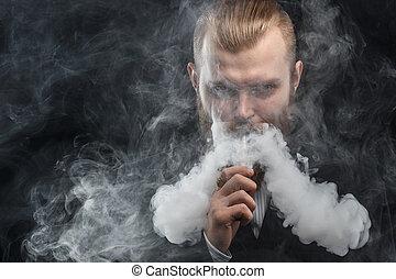 felhő, háttér., vapor., műterem, shooting., birtok, vaping, fekete, mod., ember