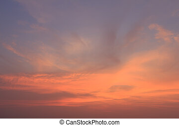 felhő, hajnalodik, kék ég, arany-