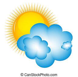 felhő, időjárás, lázmérő nap, ikonok