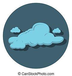 felhő, kék, ikon, karika, lakás