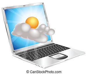 felhő, laptop, időjárás, nap, ikon, fogalom