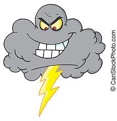 felhő, meteor, megrohamoz