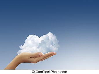 felhő, nő, kézbesít, kék ég