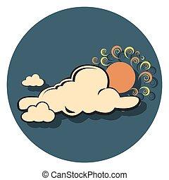 felhő, nap, ikon, karika, lakás
