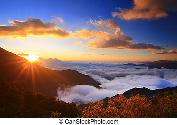 felhő, napkelte, hegyek, tenger, bámulatos