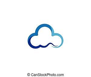 felhő, vektor, jelkép, ikon