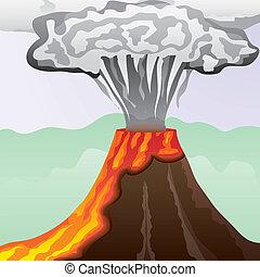 felindulás, oszlop, nagy, dohányzik, láva, vektor, ábra, tüzes, vulkán