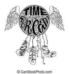 felirat, álmodik, talizmán, tervezés, bennszülött, wings., horgol, indiai, csípőre szabott, húzott, dreamcatcher, boho, jelkép., ábra, kéz, etnikai, fogójátékos, hold, törzsi, amerikai, vektor, idő, álmodik