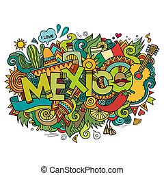 felirat, alapismeretek, mexikó, kéz, háttér, doodles
