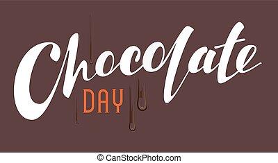 felirat, csokoládé, nap, szöveg