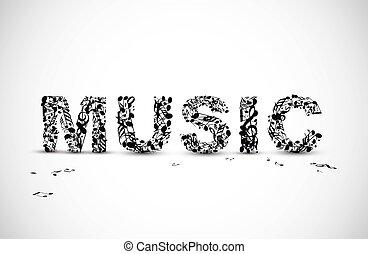 felirat, elkészített, hangjegy, vektor, fekete, zene