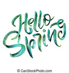 felirat, grafikus, spring., eredet, cégtábla., -, typography., tervezés, kellemes, kézírás, ihlet, szia, element., kézírásos
