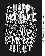 felirat, inspirálás, vektor, poszter, körülbelül, ábra, kéz, yand, marriage., árajánlatot tesz, húzott