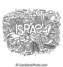 felirat, izrael, alapismeretek, kéz, háttér, doodles
