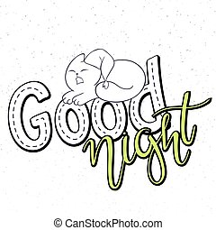 felirat, jó, grunge, csinos, szöveg, bolyhos, oda, -, ábra, kéz, vektor, háttér, macska, night.