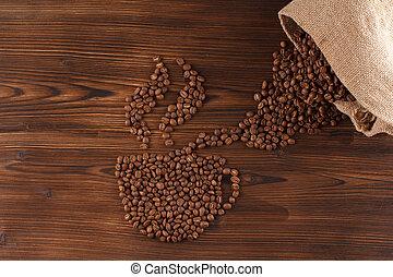 felirat, kávécserje, coffee., forma, csésze, csípős, bab