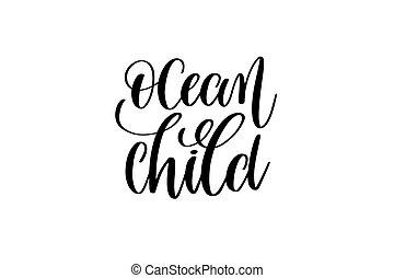 felirat, körülbelül, árajánlatot tesz, gyermek, -, kéz, pozitív, óceán, hableány