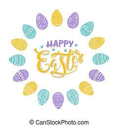 felirat, köszönés, húsvét, kéz, ikra, kártya, dekoratív