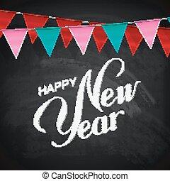 felirat, kréta, év, új, zenemű, boldog