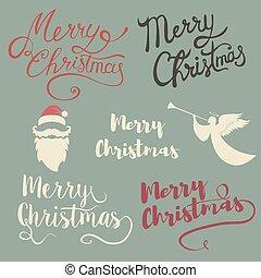 felirat, set., karácsony, vidám