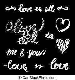 felirat, vektor, szeret