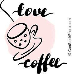 felirat, vektor, szeret, coffee., felírás