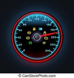 felkiáltás, figyelmeztetés, sárga, mutat, fény, benzin, illustration., fényes, digitális, gép, vektor, műszerfal, ikonok, figyelmeztetők, neon, blokkolásgátló, sebességmérő