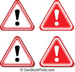 felkiáltás, veszély cégtábla, elszigetelt, ábra, vektor, signs., piros