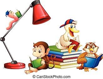 felolvasás, állatok, könyv, elszigetelt