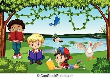 felolvasás, előjegyez, gyerekek, természet