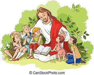 felolvasás, jézus, biblia, gyerekek
