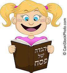 felolvasás, leány, haggadah, zsidó húsvét