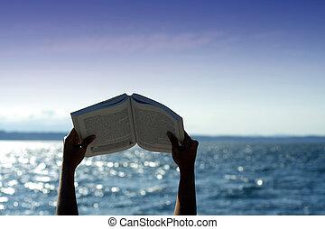 felolvasás, tengerpart