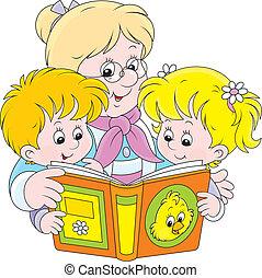 felolvasás, unokák, nagyanyó