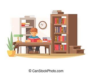 felolvas, könyv, diák, könyvtár