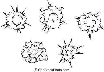 felrobbanás, elhomályosul, karikatúra