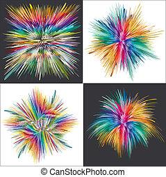 felrobbanás, szín, vektor, művészet