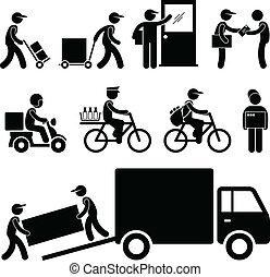 felszabadítás, állás, postás, futár, ember