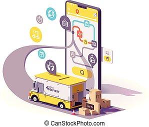 felszabadítás, app, vektor, szolgáltatás, ábra