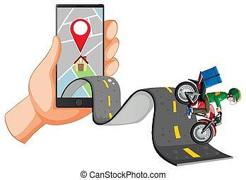 felszabadítás bábu, lovaglás, smartphone, út, használ, kéz