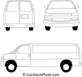 felszabadítás, egyenes, furgon, ábra