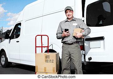 felszabadítás, postal szolgáltatás, man.