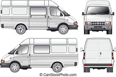 felszabadítás, rakomány, furgon, /, utas