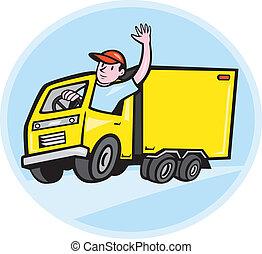 felszabadítás teherkocsi, sofőr, hullámzás, karikatúra